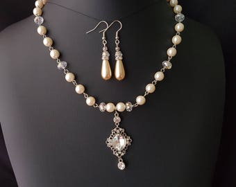 Regal Elegance Vintage Pearl, Crystal Necklace and Earring Set, OOAK Bridal Set, Clear AB Crytal