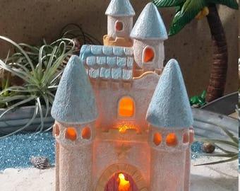 Fairy Garden Beach House, Beach Themed Fairy House, Fairy Sand Castle Miniature  Gardening, Seaside Cottage, Sandcastle, Summer Fairy Garden