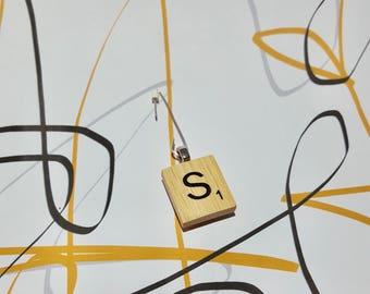 Vintage Style Scrabble Letter 'S' Single Statement Sterling Silver Earring