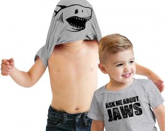Jaws Shirt, Funny Kids Shirts, Toddler Shark Shirt, Shark Flip Shirt, Funny Toddler Shirt, Kids Flip Shirt, Jaws Tees, Ask Me About My Jaws