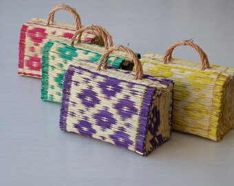 Reed Bag, portugiesische Tasche, Korbtasche, Cesta de Paja, bunte Tasche, Strohkorb, Markt-Tasche, Strohkorb, Warenkorb, Weidenkorb.