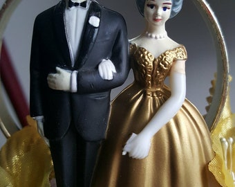 1960s Gold and White Plastic Wedding Cake Topper with Blue Eyed, Grey Haired Bride & Groom