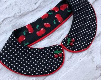 Cherry peter pan collar rockabilly pinup style
