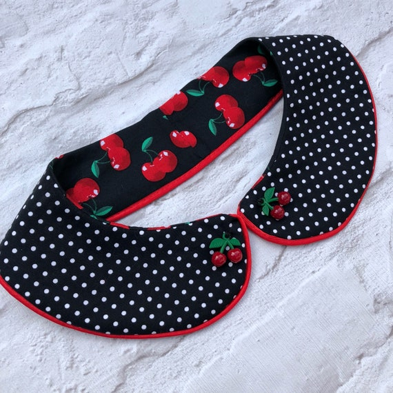 Cherry peter pan collar rockabilly pinup style