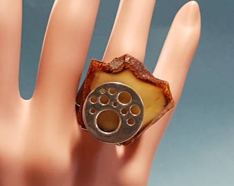 Genuine Amber Ring Leather Band and Sterling SIlver