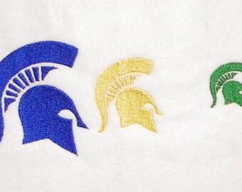 Trojan or Spartan Helmet Machine Embroidery Design Pattern 3 Sizes Single Color PES, dst, exp, hus, jef, pcs, & vip Formats