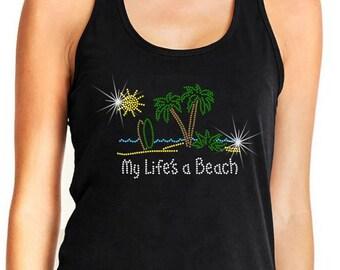 Rhinestone Tshirt Beach Theme My Life's A Beach Premium LAT Brand Ringspun Cotton Short Sleeve Bling Shirt