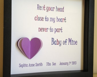 Baby of Mine Lyrics , Dumbo Nursery,Paper Art, shadow box frame, Nursery Decor, Disney, New Baby gift by PaperLine