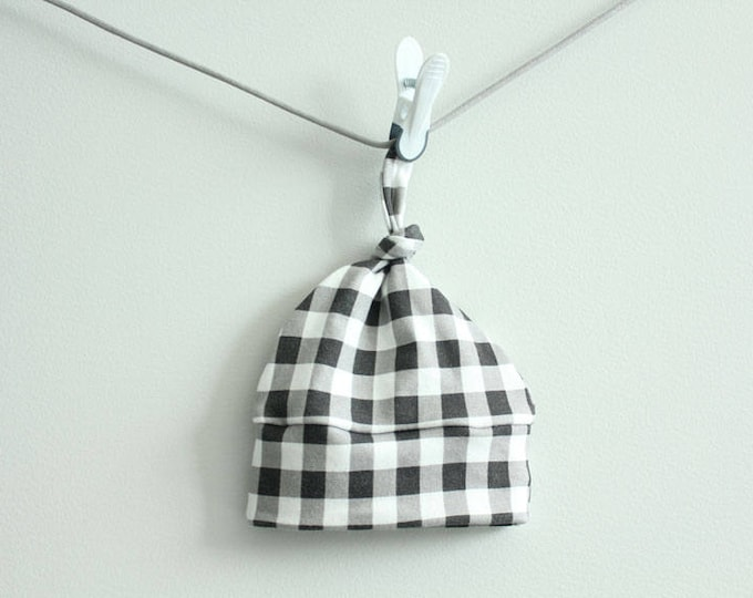 Stripe baby hat black buffalo check Organic knot hipster modern newborn shower gift photography prop hospital outfit accessory neutral boy