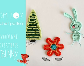 BUNNY set Crochet PATTERN, Woodland Creatures collection, Forest animals crochet applique, Bunny Flower Tree PDF crochet tutorial