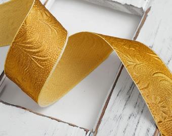"1-5/8"" Vintage Metallic Ribbon Trim by 2-yards, Gold, Silver, MAY-7049"