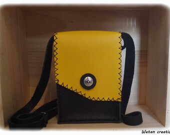 Handbag bag leather yellow and black - handcrafted - adjustable strap