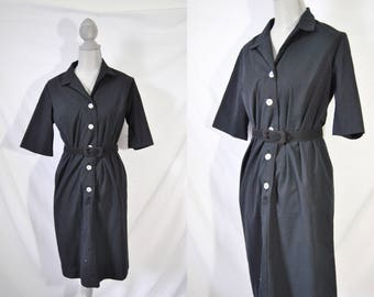 Vintage 70s Black Mid Length Day Dress Everyday Fall Dress Mad Men House Dress Short Sleeved Housewife Dress