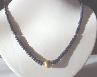 Sapphire  necklace  - Saphirkette - Saphir  Kette - sterling silver - vermeil-brideal necklace