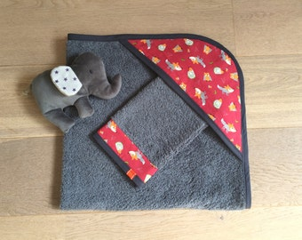 Cape of bath for baby and washcloth, CUSTOMIZABLE, foxes, owls and hedgehogs orange on red background, dark gray color