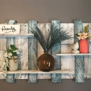 Extra Wide Pallet Shelf, Wood Shelf, Wall Shelf, Blue And White Wood Shelf