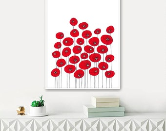 "Original Drawing - Poppy Flowers 2 - 8.5x12"" up to 24x34"" Art Print, Wall Decor, Illustration"