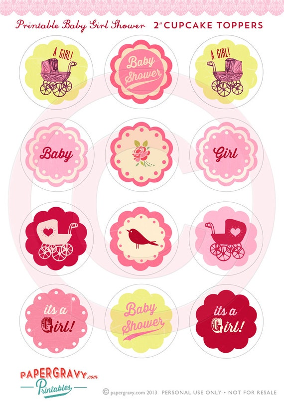 DIY Printable baby Girl shower cupcake toppers Vintage Tea Party