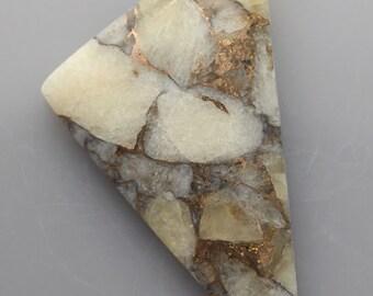 White calcite with bronze Cabochon