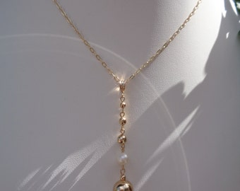 Gold chain, gold 585 (14 K) with super long pendants, beads and Freshwater Pearl