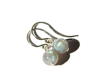 Labradorite Sterling Earrings Petite Flashy Smooth Round Iridescent Gray Argentium Earwire Natural Stone Earring Minimal Jewelry #17619