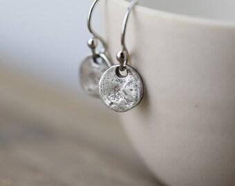 Tiny Organic Disc Sterling Silver Earrings | Clothing Gift for Women | Silver Dangle Earrings Handmade | Jewelry Handmade | Jewellery