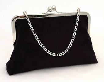 Black Suede embrayage ~ noir sac à main