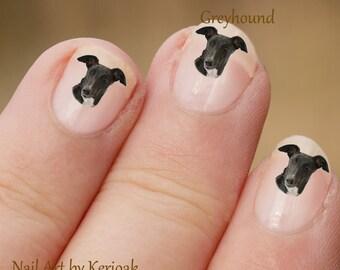 Hond Nail Art Stickers, Greyhound Nail Art Stickers, Greyhound Nail Art, nagel Decals, Greyhound portret nail art, windhond, hound