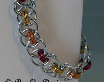 Chainmaille Bracelet In Fiery Colors Done in Anodized Aluminum Great For Males Or Females