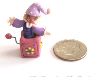 Jill-in-the-Box, Miniature Girl Decor, Pink & Purple, Artisan Hand Sculpted, One of a Kind, Dollhouse Scale, Tiny Girl Toy