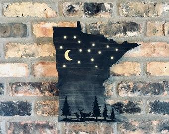 Minnesota Night Scene Light-up Sign