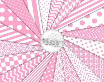 BUBBLEGUM - Pink Digital Paper and Printable Backgrounds - pink and white polka dots, stripes, chevron - Instant Download (DP262A)
