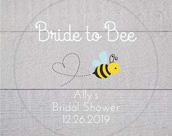 Bride to Bee Bridal Shower Labels, Clear Transparent Wedding Shower Stickers, Bridal Favor Stickers (#186-C-WT-B)