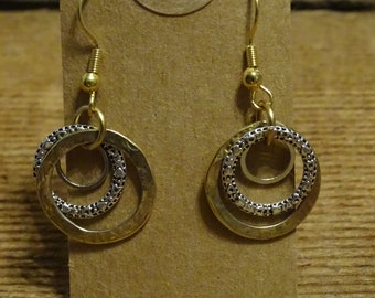 Gold and silver rings mixed media earrings
