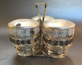 Mid Century Atomic 3 Bowl Relish Condiment Dishes in Chrome Carrier