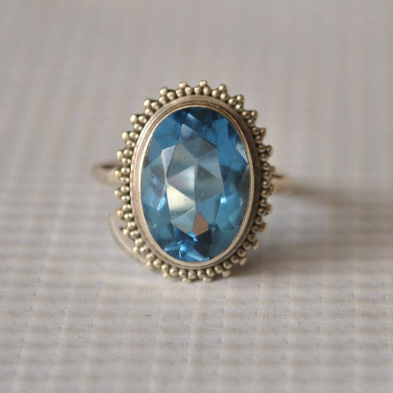 Sterling Silver Sapphire Ring Sz 6.75  #9746