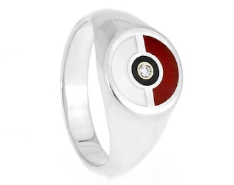 Pokemon Ring, PokeBall Signet Engagement Ring in Sterling Silver and Enamel, PokeBall Ring, Pokemon GO Ring