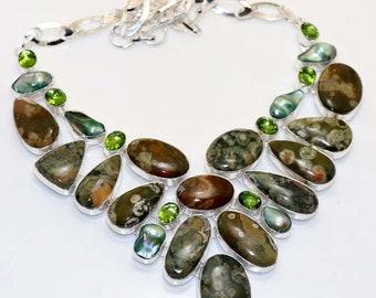 Natural Rhyolite , Biwa Pearl , Peridot Quartz Handmade 925 Silver Plated Cluster Necklace Jewelry B 608