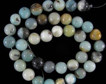 """10mm amazonite round beads 15.5"""" strand S1 17614"""