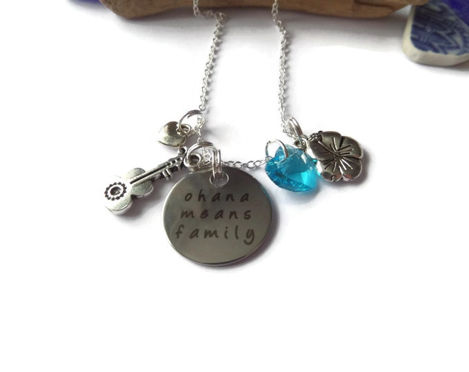 Ohana means family necklace, film themed, jewellery gift, ohana favors, family necklace, guitar necklace, flower necklace, hawaii gift