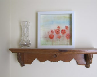 Red Flowers Painting Poppies Flowers Abstract Flowers Spring Flowers Frame Poppies Art Gift for Mom