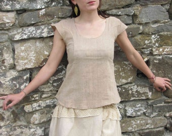 Earthy Cotton Jute Primitive Top, Summer Top, Zen, Yoga, Primitive, Pagan, celtic, Earthy, Bohemian, Natural Cotton.