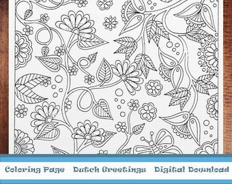 Flowers Coloring page, digital download