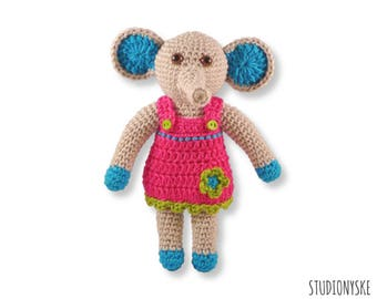 Baby shower gift GIRL, crochet PATTERN amigurumi elephant soft toy pdf