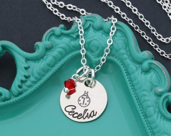 Ladybug Necklace • Little Girl Ladybug Gift Necklace Personalized Red Ladybug Jewelry•Ladybird Necklace Girls Birthday Party Favor Gift Bug