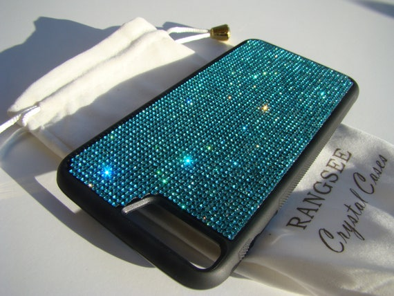 iPhone 8 Plus Case / iPhone 7 Plus Aquamarine Blue Rhinestone Crystal on Black Rubber Velvet/Silk Pouch Bag Included, .