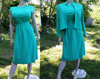 70s Dress, 70s Jacket, Leslie Fay, Green Dress, 70s Costume, Vintage Dress, Secretary Dress, Vintage Sundress, Vintage Jacket, Dress Size M