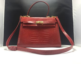 Rare !  Vintage Jay Herbert New york red alligator leather