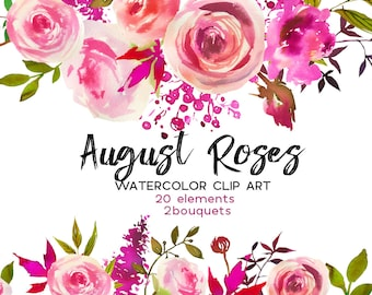 Pink Peach Roses Watercolor Flowers Peonies Clipart Set Wedding Floral Wreaths Clip Art Digital Florals DIY Invitation Free Commercial Use