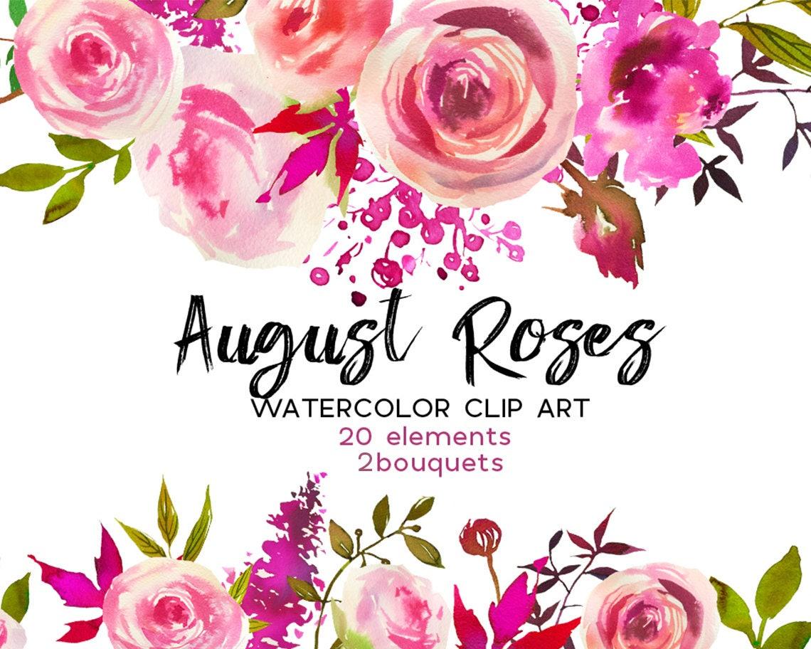 Pink Peach Roses Watercolor Flowers Peonies Clipart Set Wedding ...